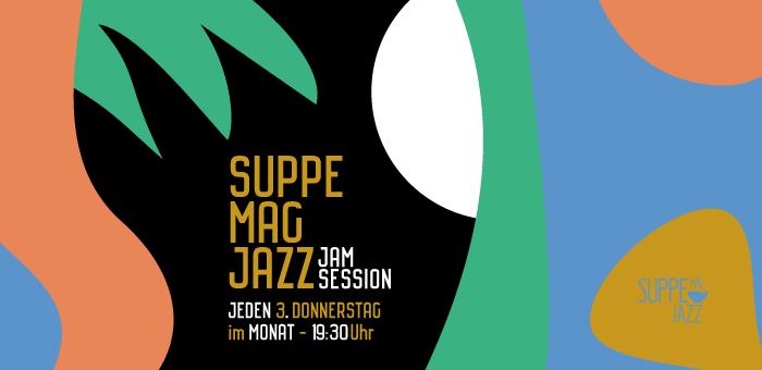 Das ist das Kampagnenbild der Veranstaltungsreihe Suppe mag Jazz bei Suppe mag Brot in Landau.
