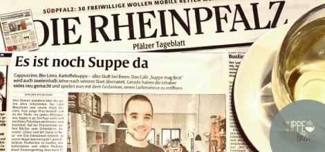 In der Rheinpfalz ist im Februar 2018 ein großer Artikel über Suppe mag Brot erschienen. Design: RORE DESIGN - Grafikdesign aus Landau.